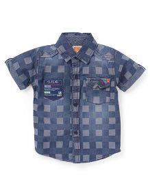 Little Kangaroos Half Sleeves Check Shirt - Dark Blue
