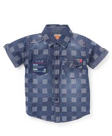 Little Kangaroos Half Sleeves Check Shirt - Dark Blue