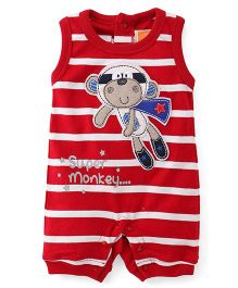 Little Kangaroos Sleeveless Romper Super Monkey Patch - Red