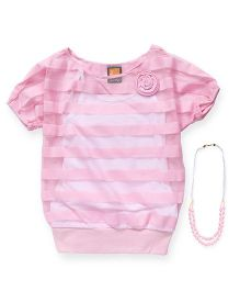 Little Kangaroos Half Sleeves Top With Necklace - Pink