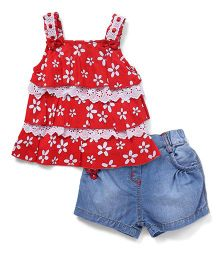 Little Kangaroos Floral Top And Shorts Set - Red & Blue