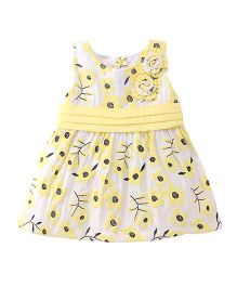 Little Kangaroos Sleeveless Frock Floral Embroidery - White Yellow