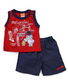 Little Kangaroos Sleeveless T-Shirt And Shorts Set My London Print - Red Blue