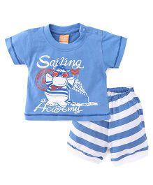 Little Kangaroos Half Sleeves T-Shirt And Shorts Set Sailing Academy Print - Blue