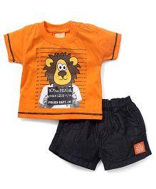 Little Kangaroos Half Sleeves T-Shirt And Shorts Set Lion Print - Orange