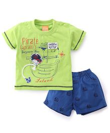 Little Kangaroos Half Sleeves T-Shirt And Shorts Set Pirate Patch - Lime Green Blue