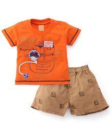 Little Kangaroos Half Sleeves T-Shirt And Shorts Set Pirate Patch - Orange Brown