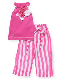 Little Kangaroos Sleeveless Top And Striped Bottom Set  Flower Corsage - Pink