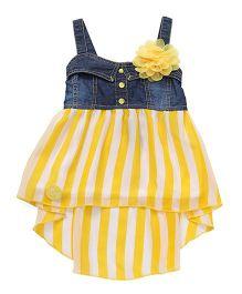 Little Kangaroos Singlet Party Wear Frock Stripes Print - Yellow Blue