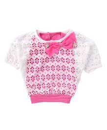 Little Kangaroos Half Sleeves Party Wear Top With Bow Applique - Pink And White