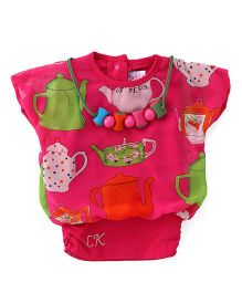 Little Kangaroos Half Sleeves Party Wear Top With Necklace - Pink