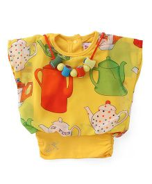 Little Kangaroos Half Sleeves Party Wear Top With Necklace - Yellow