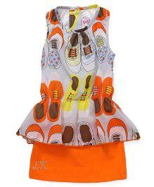 Little Kangaroos Sleeveless Party Wear Top Shoes Print - Orange