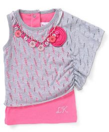 Little Kangaroos Sleeveless Party Wear Top With Necklace - Grey Pink