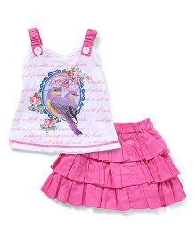 Little Kangaroos Singlet Top And Skirt Set Bird Print - White & Pink