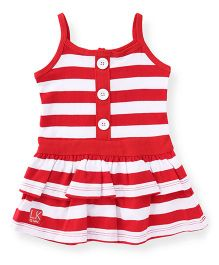 Little Kangaroos Singlet Frock Dual Color Stripes - Red & White