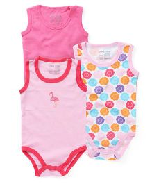 Luvable Friends Pk of 3 Sleeveless Onesies - Pink