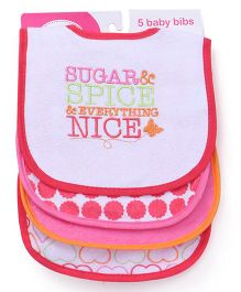 Luvable Friends Sugar Spice Print Pack of 5 Bibs - Multicolor