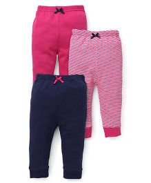 Luvable Friends Pack Of 3 Body Leggings - Pink & Navy