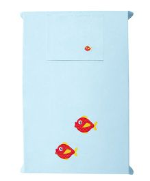 Baby Rap The Fishy Siblings Design Crib Sheet With Pillow Cover - Blue