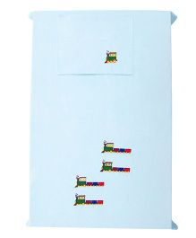 Baby Rap Set of 4 Trains Design Crib Sheet With Pillow Cover - Blue