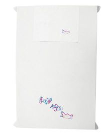 Baby Rap Aeroplane Formation Design Crib Sheet With Pillow Cover - White