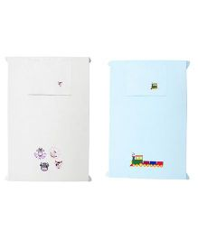 Baby Rap Cows & A Train Design Crib Sheet With Pillow Cover Set Of 2 - Blue White