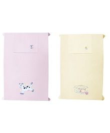 Baby Rap A Duck & A Cow Design Crib Sheet With Pillow Cover Set Of 2 - Pink Lemon