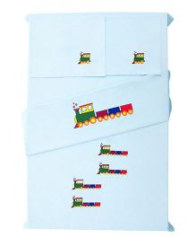 Baby Rap Train Design Crib Sheet With Pillow Cover - Blue