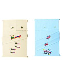 Baby Rap Spaceships & Trains Design Crib Sheet With Pillow Cover Set Of 4 - Lemon Blue