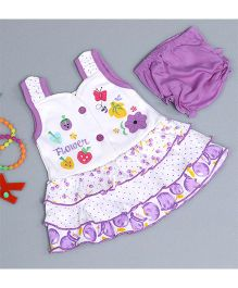 Little Bunnies Flower Patched Dress With Bloomer - Mauve