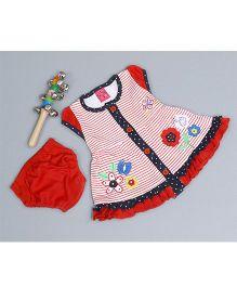 Little Bunnies Flower Applique Stripe Dress With Bloomer - Red