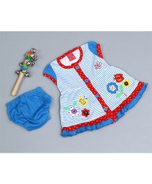 Little Bunnies Flower Applique Stripe Dress With Bloomer - Royal Blue