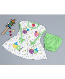 Little Bunnies Flower Applique Stripe Dress With Bloomer - Green