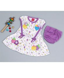 Little Bunnies Flower Applique Stripe Dress With Bloomer - Mauve