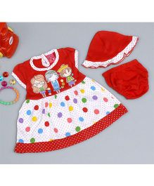 Little Bunnies Girls Printed Dress With Bloomer & Cap - Red
