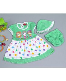 Little Bunnies Girls Printed Dress With Bloomer & Cap - Green