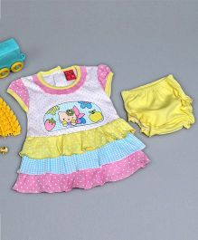 Little Bunnies Kitten Embossed Tier Dress With Bloomer - Cream Yellow