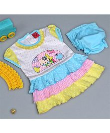Little Bunnies Kitten Embossed Tier Dress With Bloomer - Blue
