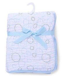 Hudson Baby Printed Stroller Blanket - Blue & White