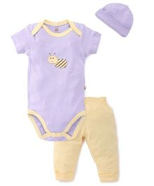 Hudson Baby Hony Bee Printed Bodysuit With pant & Cap - Purple