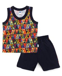 Teddy Sleeveless T-shirt Printed With Shorts - Multi Color