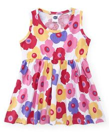 Teddy Sleeveless Frock Printed - Multicolor