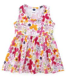 Teddy Sleeveless Frock Printed - White Yellow Pink