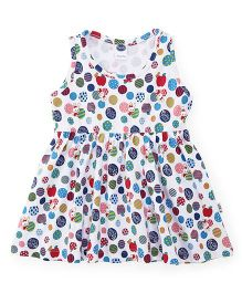 Teddy Sleeveless Frock Printed - White Blue Green Red