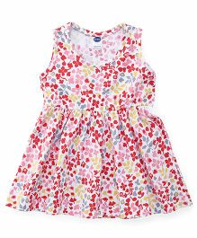 Teddy Sleeveless Frock Floral Print - White Yellow Pink