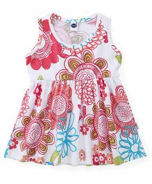 Teddy Sleeveless Frock Floral Print - White Blue Green Red