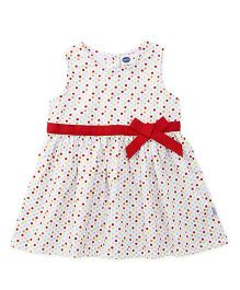 Teddy Sleeveless Frock Dots Print - White Multicolor