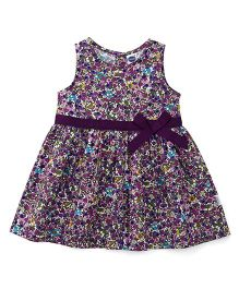 Teddy Sleeveless Frock Floral Print - Purple