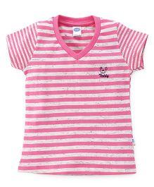 Teddy Half Sleeves Tee Striped - Pink White